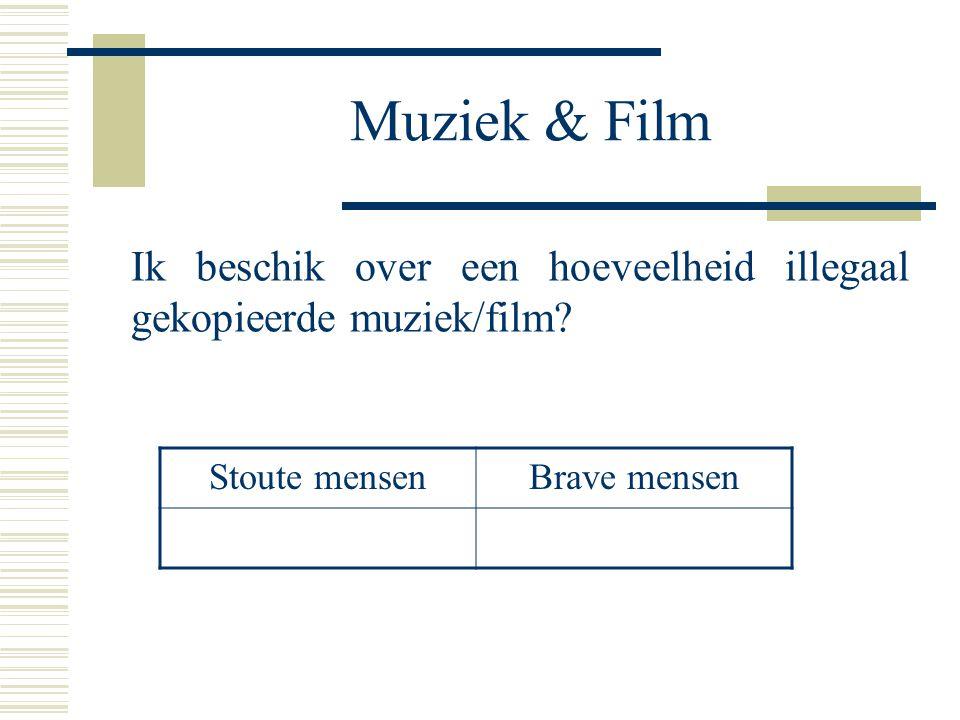 Muziek & Film Ik beschik over een hoeveelheid illegaal gekopieerde muziek/film? Stoute mensenBrave mensen