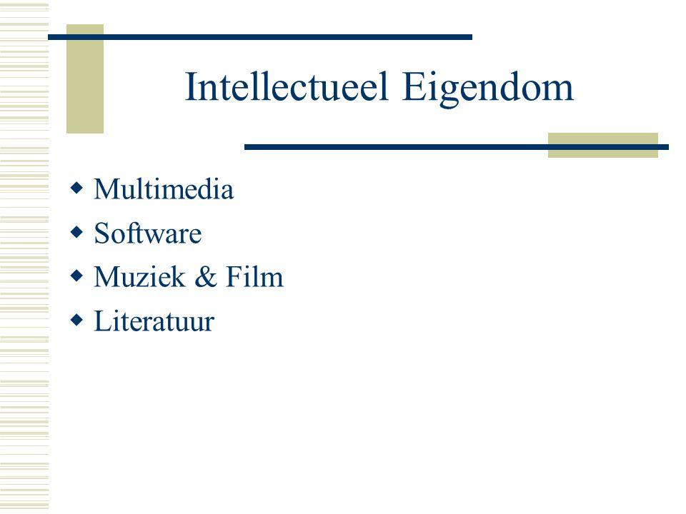 Intellectueel Eigendom  Multimedia  Software  Muziek & Film  Literatuur