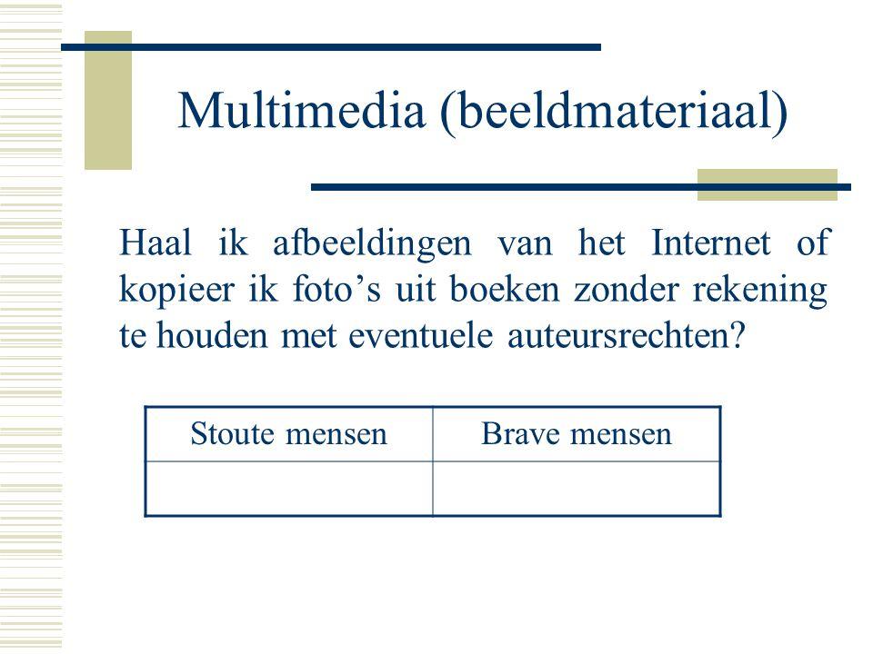 Multimedia (beeldmateriaal) Haal ik afbeeldingen van het Internet of kopieer ik foto's uit boeken zonder rekening te houden met eventuele auteursrecht