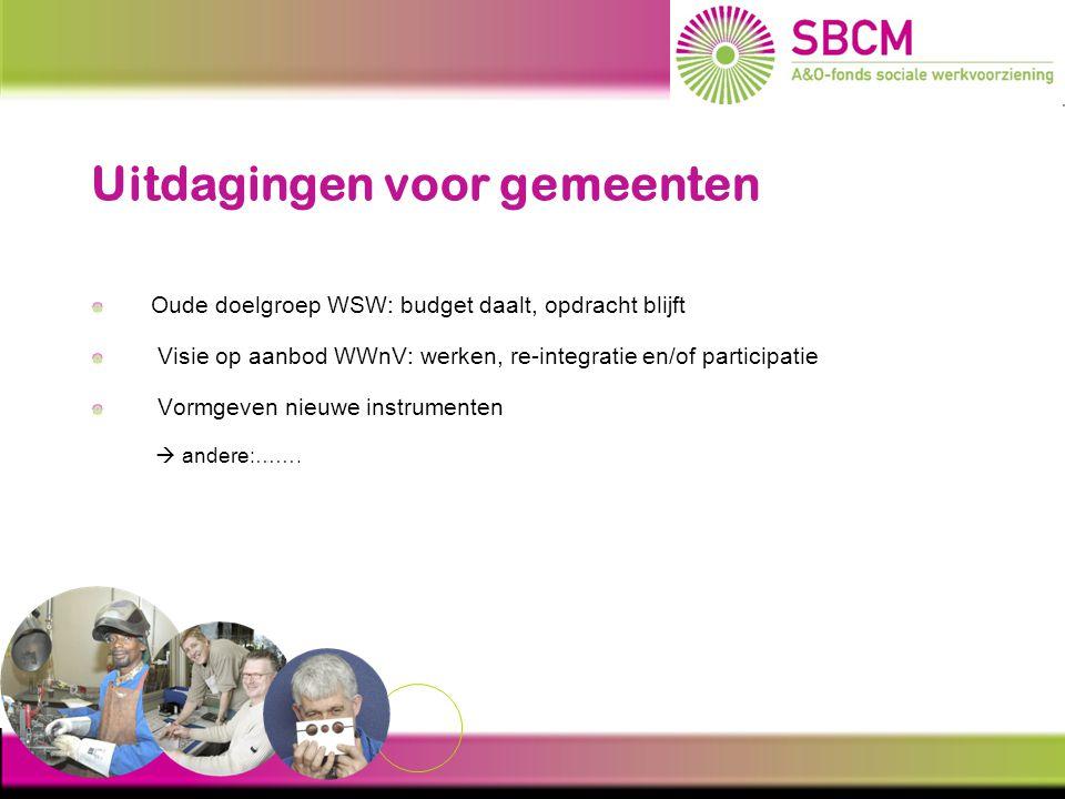 Bezuinigingen Gemeente krijgt minder geld  moet kiezen budget landelijk: 2011: 4,7 miljard voor WSW en participatie 2015: 2,6 miljard voor WSW en participatie Subsidie per SW-plaats: - bezuiniging van ± € 5000,- per werkplek