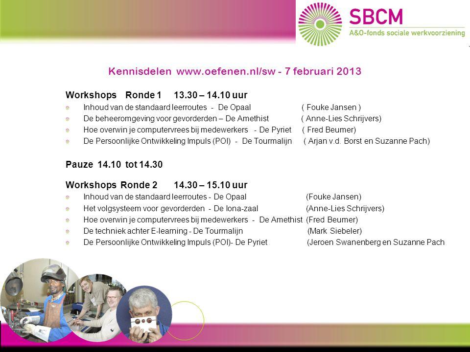 Kennisdelen www.oefenen.nl/sw - 7 februari 2013 Opkomst E-learning in de SW ( 2008 – 2013) Interactieve programma's gemaakt voor de SW: Op weg naar werk ( 2008 ) Handige Herman - post / verpakking / schoonmaak (2009 ) Taalgids 1.0.
