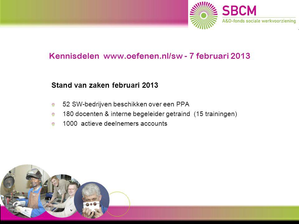 Kennisdelen www.oefenen.nl/sw - 7 februari 2013 Stand van zaken februari 2013 52 SW-bedrijven beschikken over een PPA 180 docenten & interne begeleide
