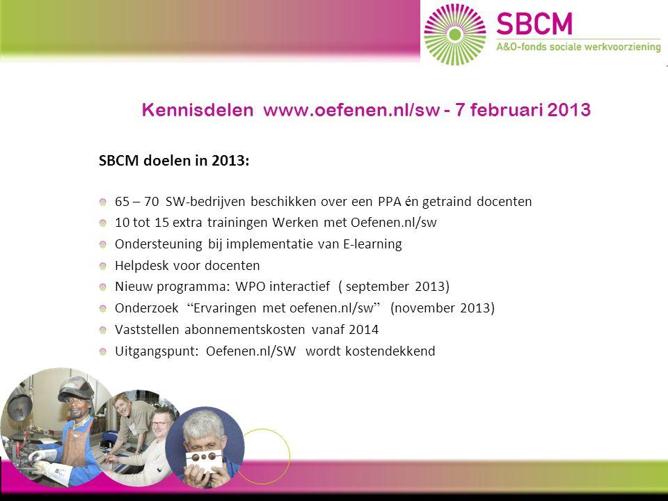 Kennisdelen www.oefenen.nl/sw - 7 februari 2013 Inzet SBCM voor 2013 / 2014 / 2015 Bestuur blijft E-learning steunen Oefenen.nl/sw uitbreiden met vakgerichte oefen- en instructieprogramma's Functiegerichte leerroutes gericht op uitstroom (bv.