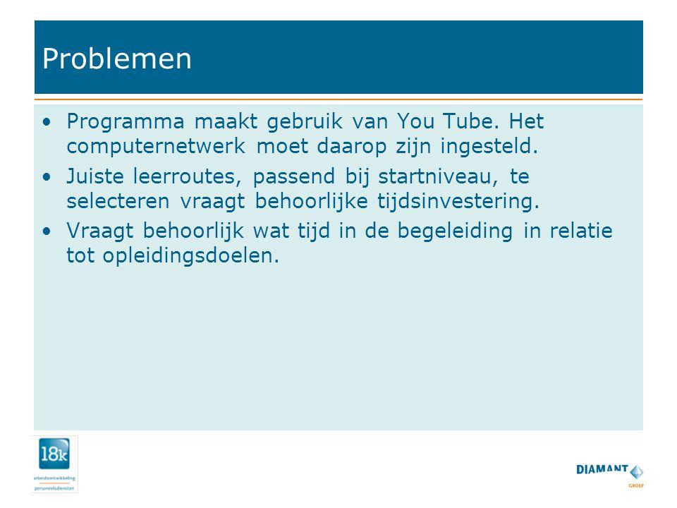 Problemen Programma maakt gebruik van You Tube.Het computernetwerk moet daarop zijn ingesteld.