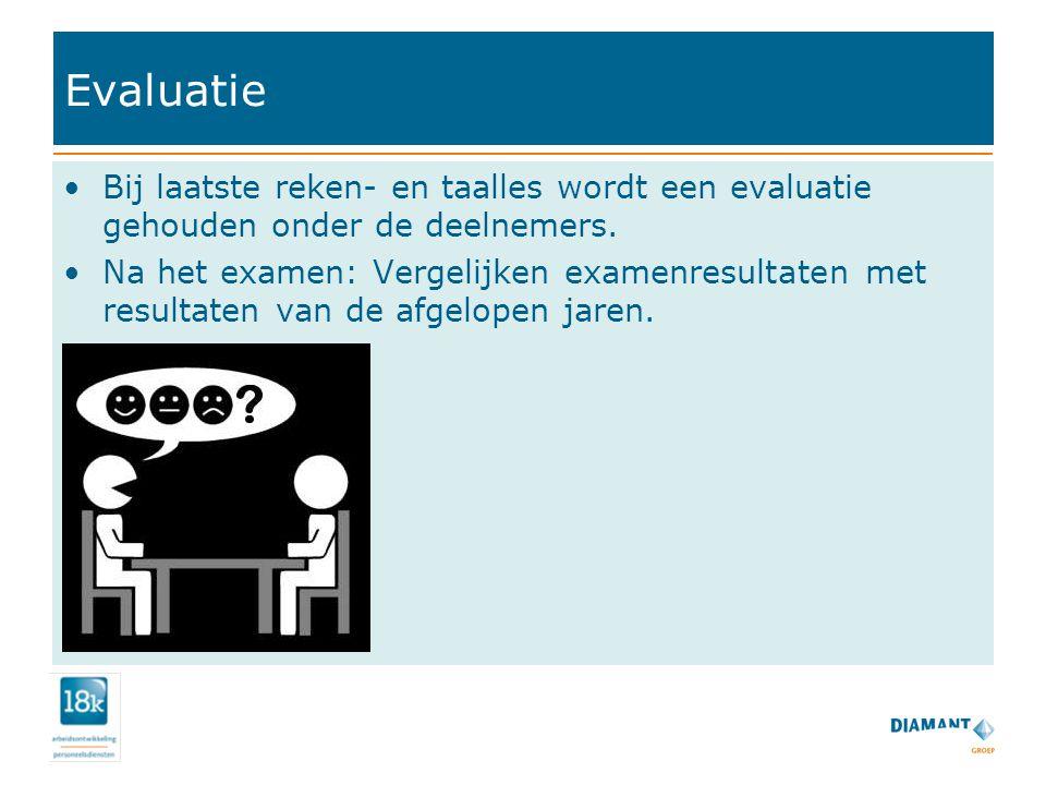 Evaluatie Bij laatste reken- en taalles wordt een evaluatie gehouden onder de deelnemers. Na het examen: Vergelijken examenresultaten met resultaten v