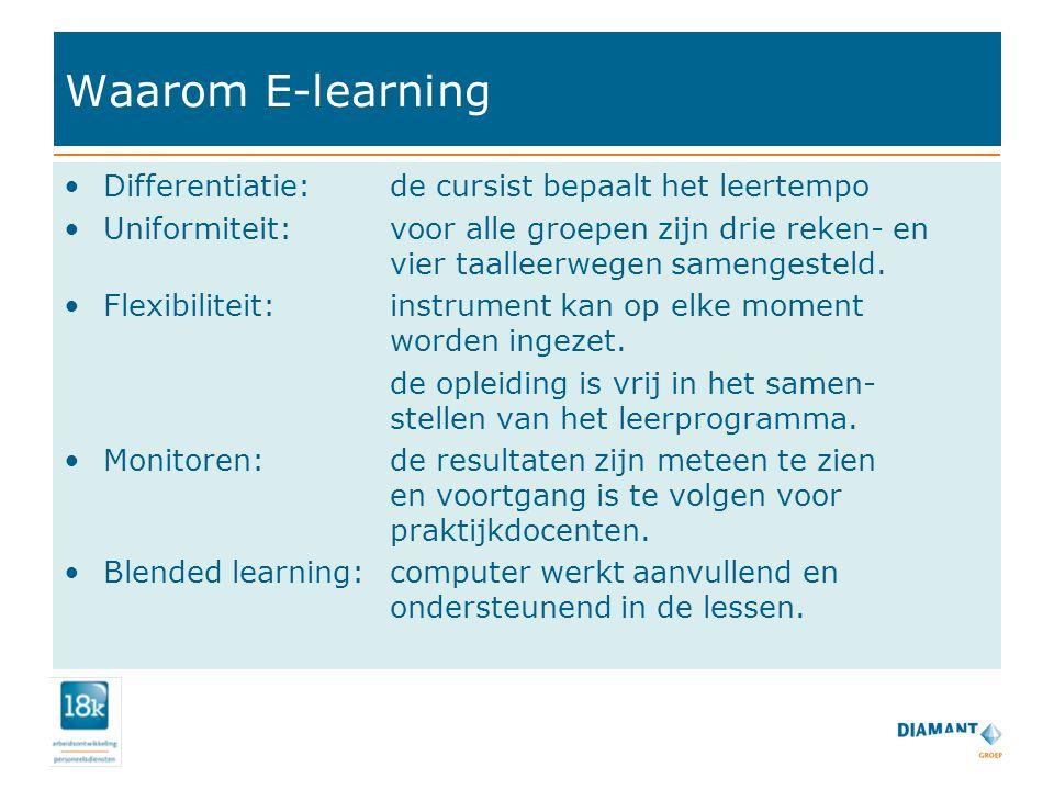 Waarom E-learning Differentiatie: de cursist bepaalt het leertempo Uniformiteit: voor alle groepen zijn drie reken- en vier taalleerwegen samengesteld.