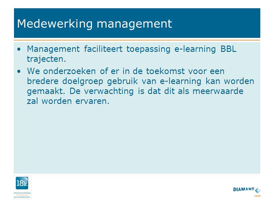 Medewerking management Management faciliteert toepassing e-learning BBL trajecten.