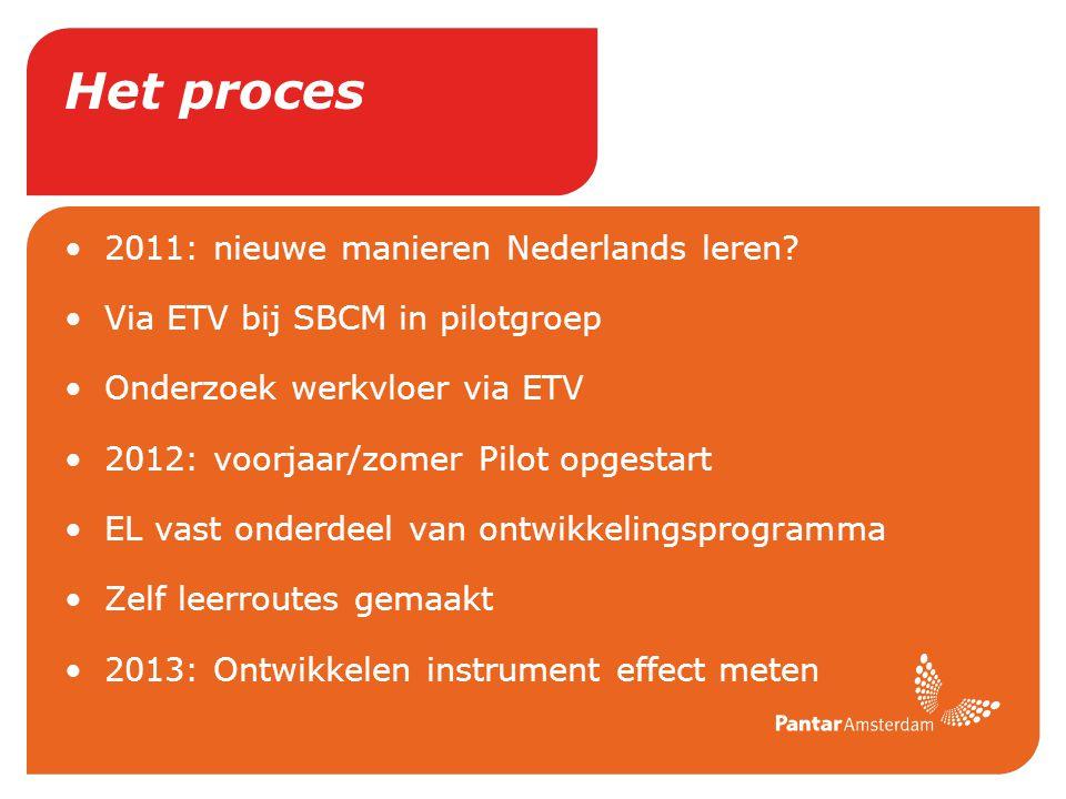Het proces 2011: nieuwe manieren Nederlands leren? Via ETV bij SBCM in pilotgroep Onderzoek werkvloer via ETV 2012: voorjaar/zomer Pilot opgestart EL