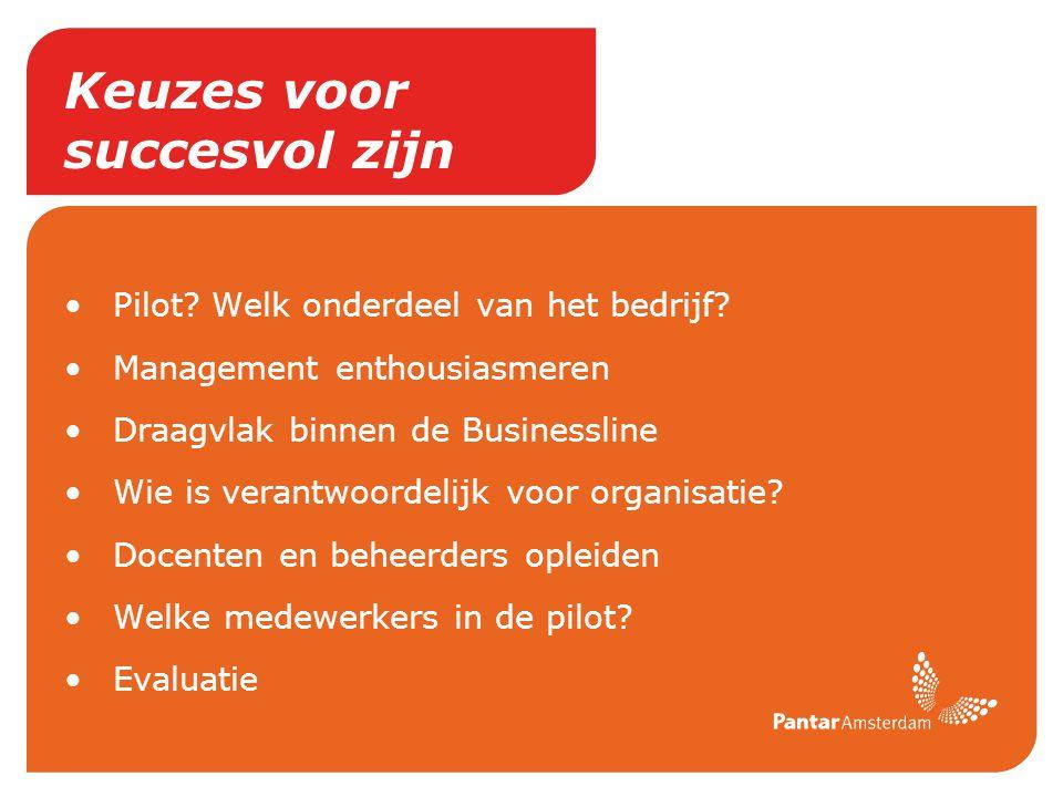 Keuzes voor succesvol zijn Pilot? Welk onderdeel van het bedrijf? Management enthousiasmeren Draagvlak binnen de Businessline Wie is verantwoordelijk