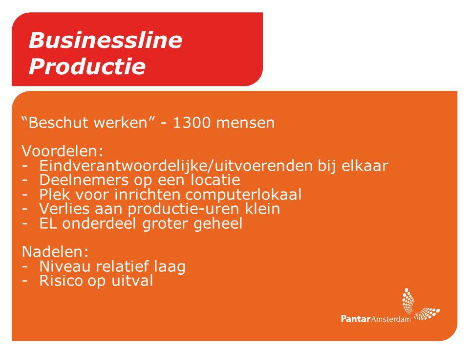 """Businessline Productie """"Beschut werken"""" - 1300 mensen Voordelen: -Eindverantwoordelijke/uitvoerenden bij elkaar -Deelnemers op een locatie -Plek voor"""