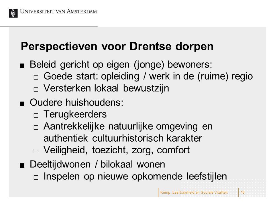 Perspectieven voor Drentse dorpen Beleid gericht op eigen (jonge) bewoners:  Goede start: opleiding / werk in de (ruime) regio  Versterken lokaal be