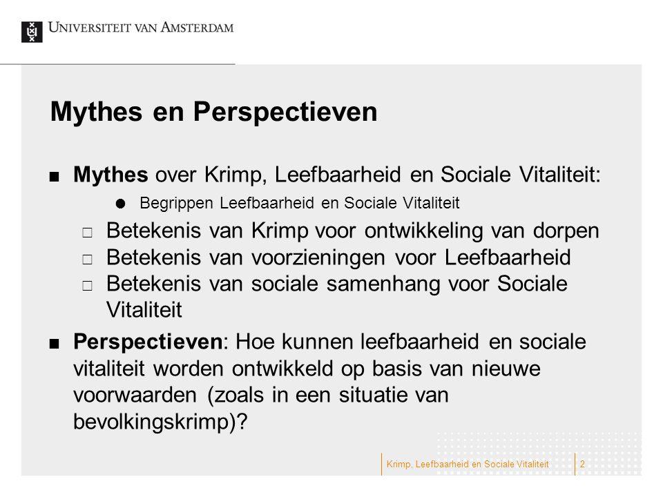 Mythes en Perspectieven Mythes over Krimp, Leefbaarheid en Sociale Vitaliteit:  Begrippen Leefbaarheid en Sociale Vitaliteit  Betekenis van Krimp vo