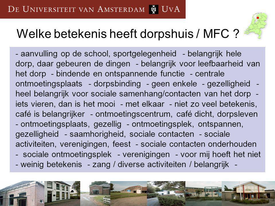 Welke betekenis heeft dorpshuis / MFC .