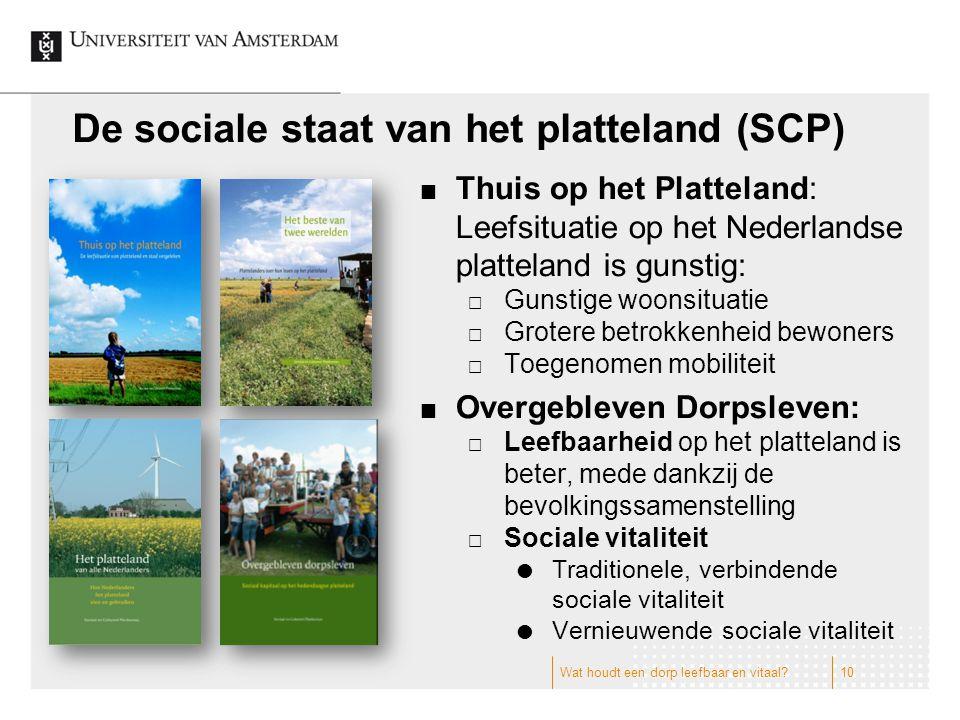 De sociale staat van het platteland (SCP) Thuis op het Platteland: Leefsituatie op het Nederlandse platteland is gunstig:  Gunstige woonsituatie  Gr
