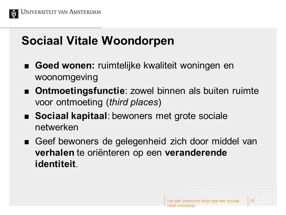 Van een autonoom dorp naar een sociaal vitaal woondorp 11 Sociaal Vitale Woondorpen Goed wonen: ruimtelijke kwaliteit woningen en woonomgeving Ontmoet