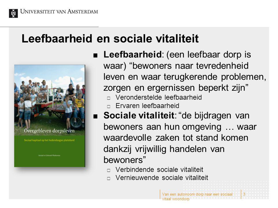 """Van een autonoom dorp naar een sociaal vitaal woondorp 3 Leefbaarheid en sociale vitaliteit Leefbaarheid: (een leefbaar dorp is waar) """"bewoners naar t"""
