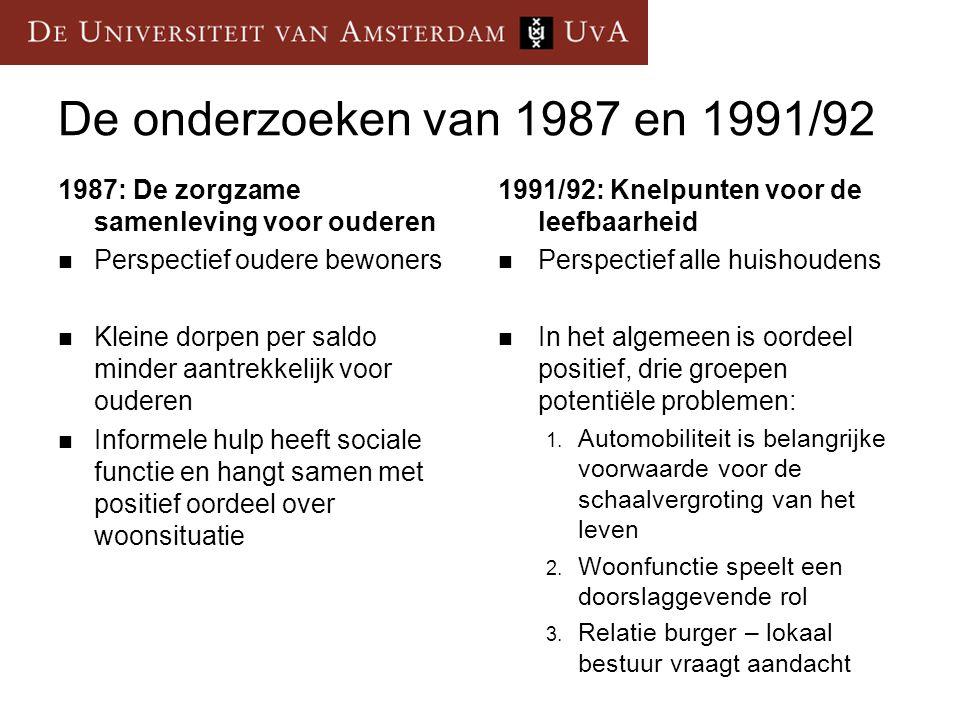 De onderzoeken van 1987 en 1991/92 1987: De zorgzame samenleving voor ouderen Perspectief oudere bewoners Kleine dorpen per saldo minder aantrekkelijk