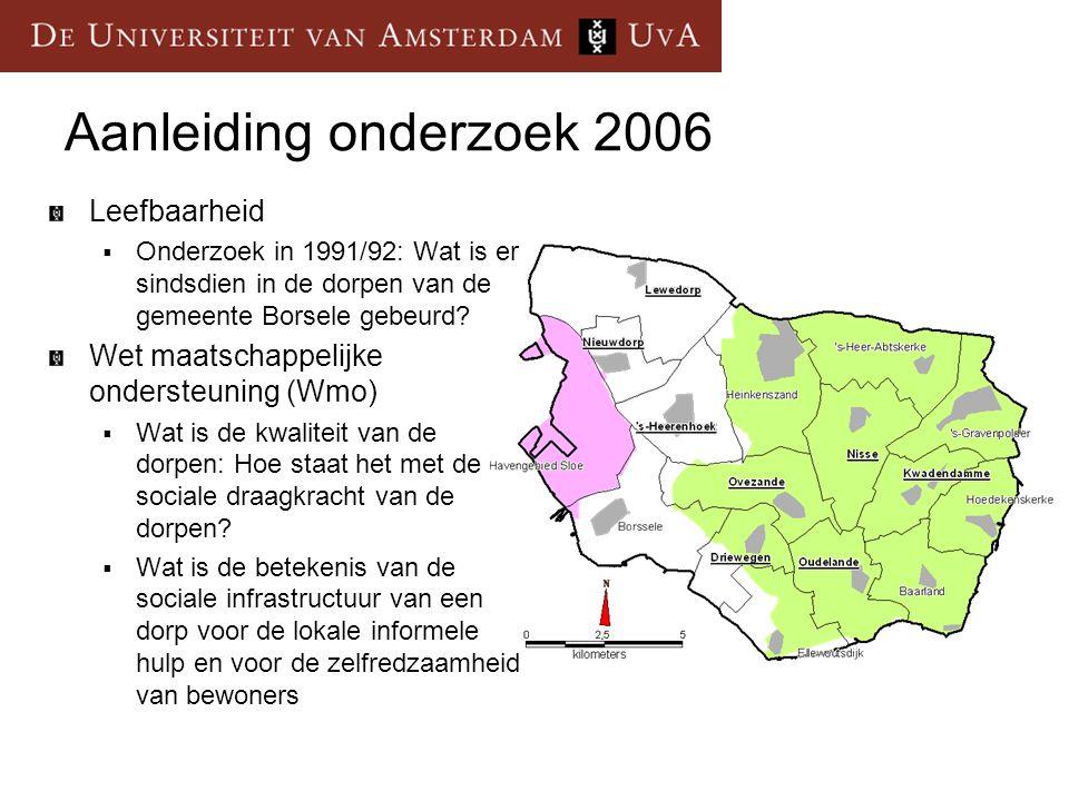 Aanleiding onderzoek 2006 Leefbaarheid  Onderzoek in 1991/92: Wat is er sindsdien in de dorpen van de gemeente Borsele gebeurd? Wet maatschappelijke