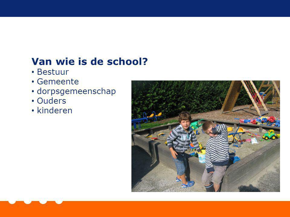 Van wie is de school? Bestuur Gemeente dorpsgemeenschap Ouders kinderen