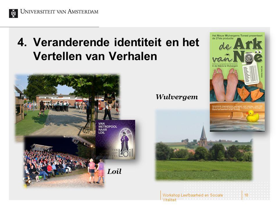 4.Veranderende identiteit en het Vertellen van Verhalen Wulvergem Loil Workshop Leefbaarheid en Sociale Vitaliteit 18