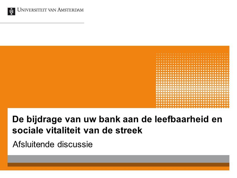 De bijdrage van uw bank aan de leefbaarheid en sociale vitaliteit van de streek Afsluitende discussie