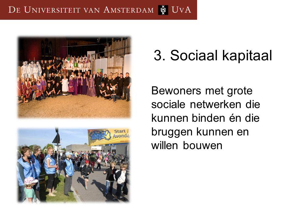 3.Sociaal kapitaal Bewoners met grote sociale netwerken die kunnen binden én die bruggen kunnen en willen bouwen