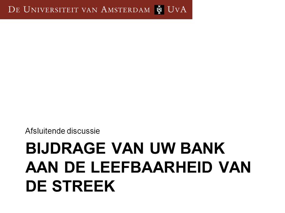 BIJDRAGE VAN UW BANK AAN DE LEEFBAARHEID VAN DE STREEK Afsluitende discussie