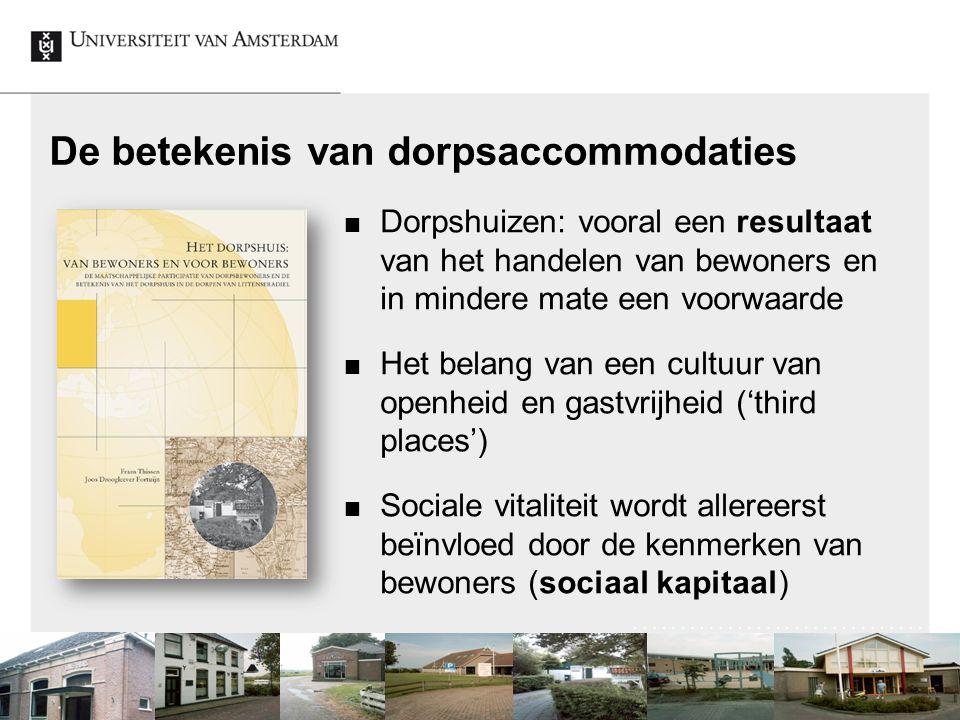 De betekenis van dorpsaccommodaties Dorpshuizen: vooral een resultaat van het handelen van bewoners en in mindere mate een voorwaarde Het belang van e