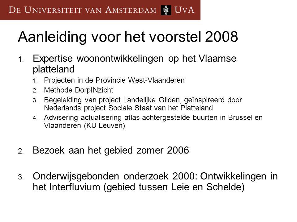 1.Expertise woonontwikkelingen Vlaamse platteland Universiteit van Amsterdam: Onderzoek: Projecten 1997 en 2004 Onderwijsgebonden onderzoek: 2000 en 2005