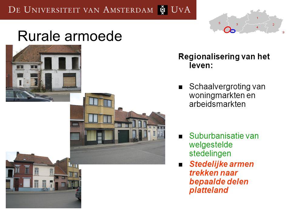 Rurale armoede Regionalisering van het leven: Schaalvergroting van woningmarkten en arbeidsmarkten Suburbanisatie van welgestelde stedelingen Stedelijke armen trekken naar bepaalde delen platteland