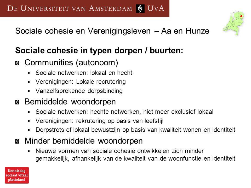 Sociale cohesie en Verenigingsleven – Aa en Hunze Sociale cohesie in typen dorpen / buurten: Communities (autonoom)  Sociale netwerken: lokaal en hec