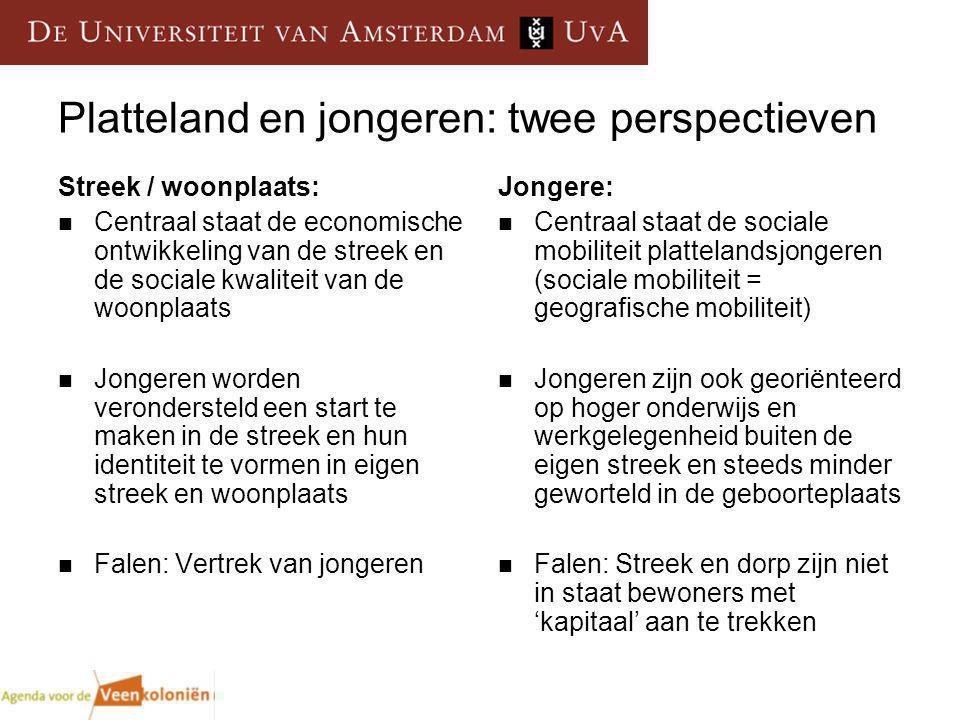 Platteland en jongeren: twee perspectieven Streek / woonplaats: Centraal staat de economische ontwikkeling van de streek en de sociale kwaliteit van d