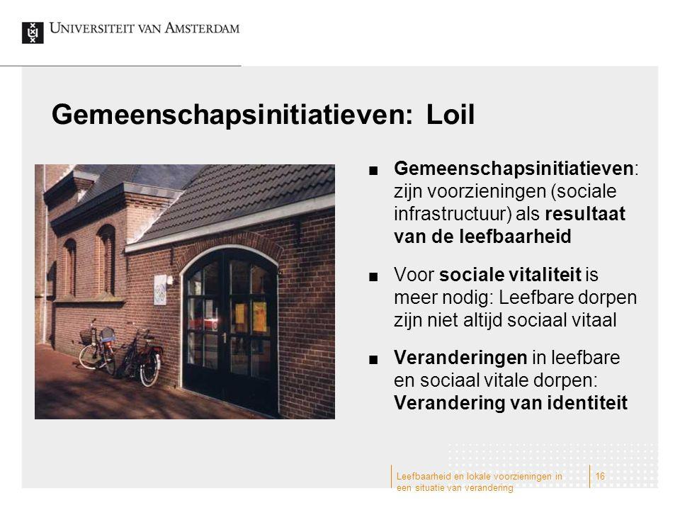 Gemeenschapsinitiatieven: Loil Gemeenschapsinitiatieven: zijn voorzieningen (sociale infrastructuur) als resultaat van de leefbaarheid Voor sociale vi