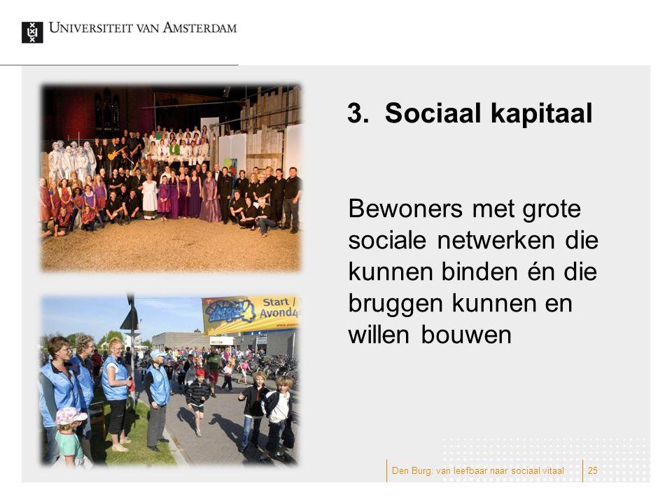 3.Sociaal kapitaal Bewoners met grote sociale netwerken die kunnen binden én die bruggen kunnen en willen bouwen 25Den Burg: van leefbaar naar sociaal