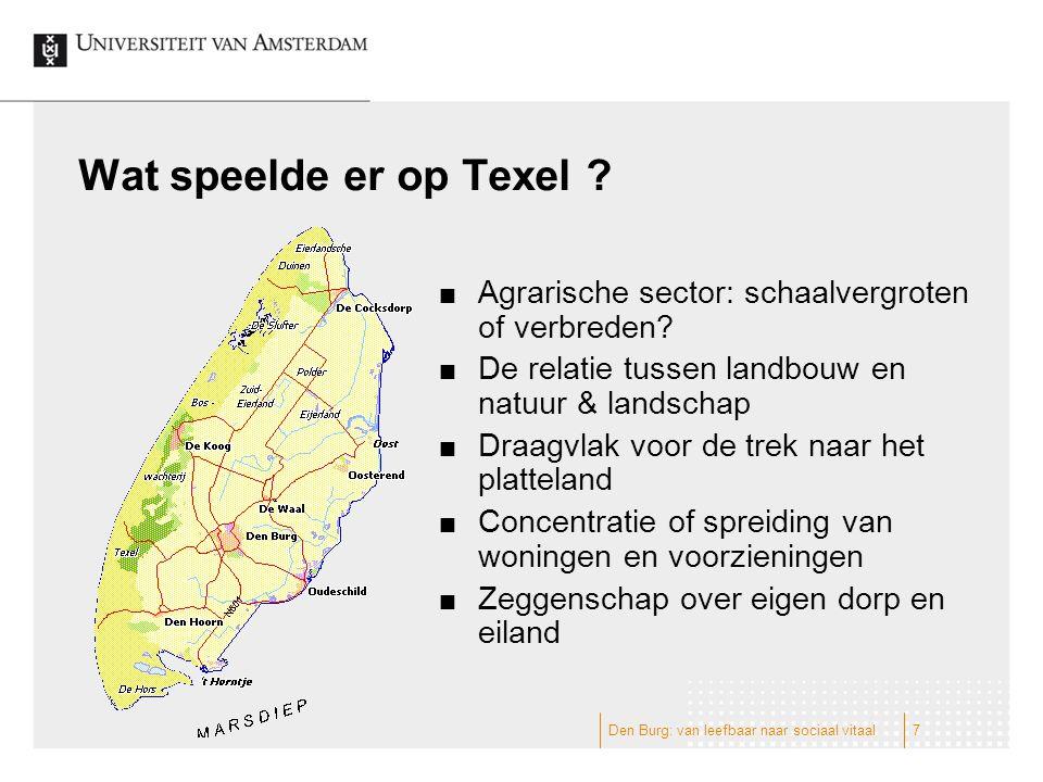 Wat speelde er op Texel ? Agrarische sector: schaalvergroten of verbreden? De relatie tussen landbouw en natuur & landschap Draagvlak voor de trek naa