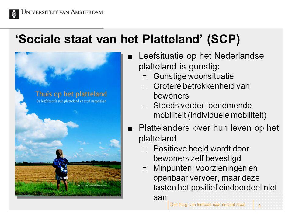 'Sociale staat van het Platteland' (SCP) Leefsituatie op het Nederlandse platteland is gunstig:  Gunstige woonsituatie  Grotere betrokkenheid van be