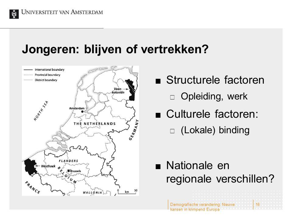 Jongeren: blijven of vertrekken? Structurele factoren  Opleiding, werk Culturele factoren:  (Lokale) binding Nationale en regionale verschillen? Dem