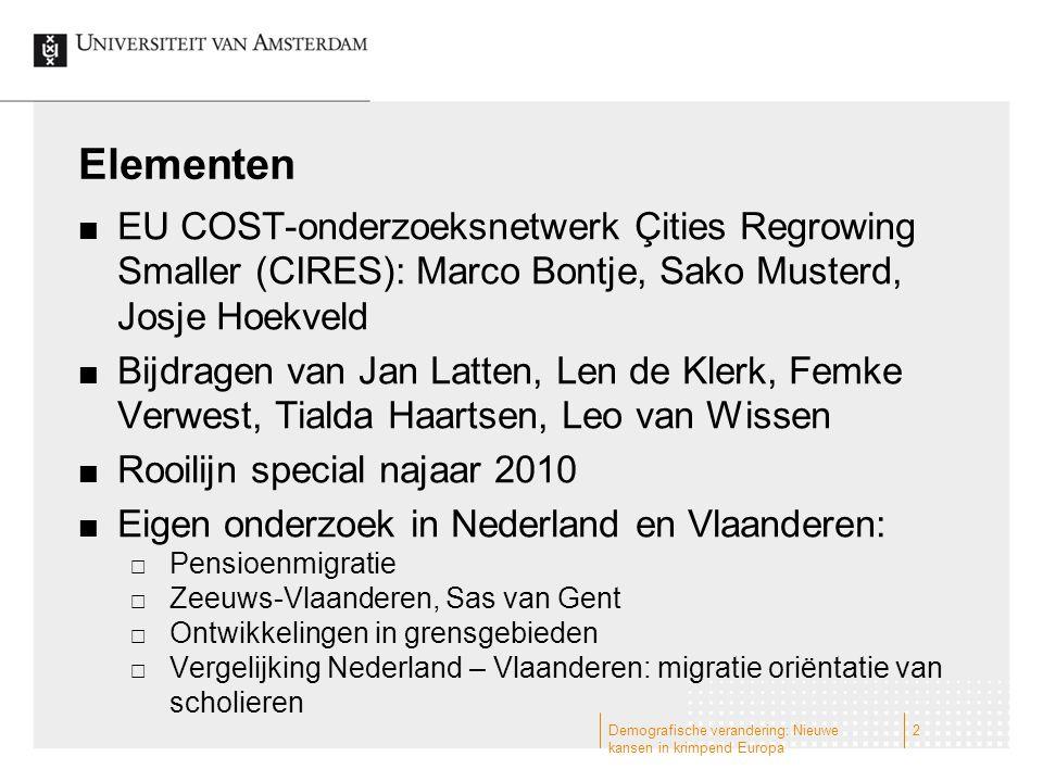 Elementen EU COST-onderzoeksnetwerk Çities Regrowing Smaller (CIRES): Marco Bontje, Sako Musterd, Josje Hoekveld Bijdragen van Jan Latten, Len de Kler