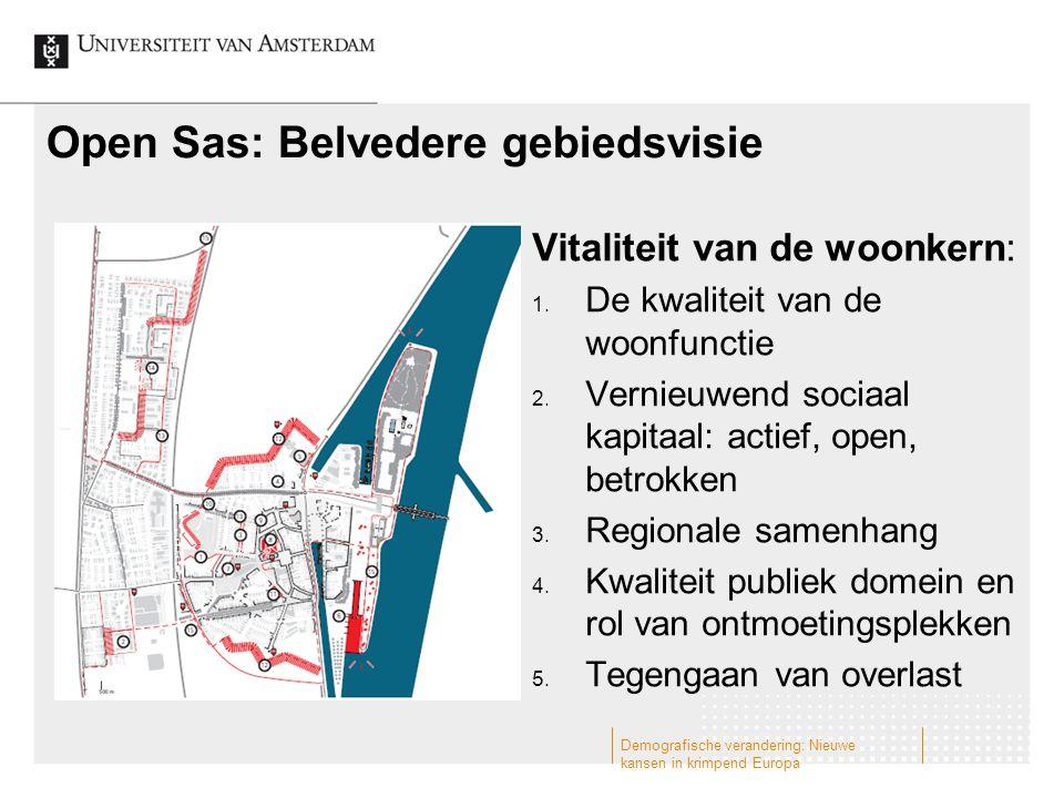 Open Sas: Belvedere gebiedsvisie Vitaliteit van de woonkern: 1. De kwaliteit van de woonfunctie 2. Vernieuwend sociaal kapitaal: actief, open, betrokk