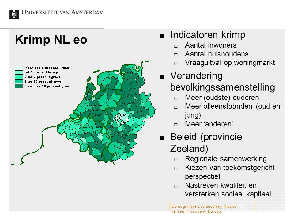 Krimp NL eo Indicatoren krimp  Aantal inwoners  Aantal huishoudens  Vraaguitval op woningmarkt Verandering bevolkingssamenstelling  Meer (oudste)