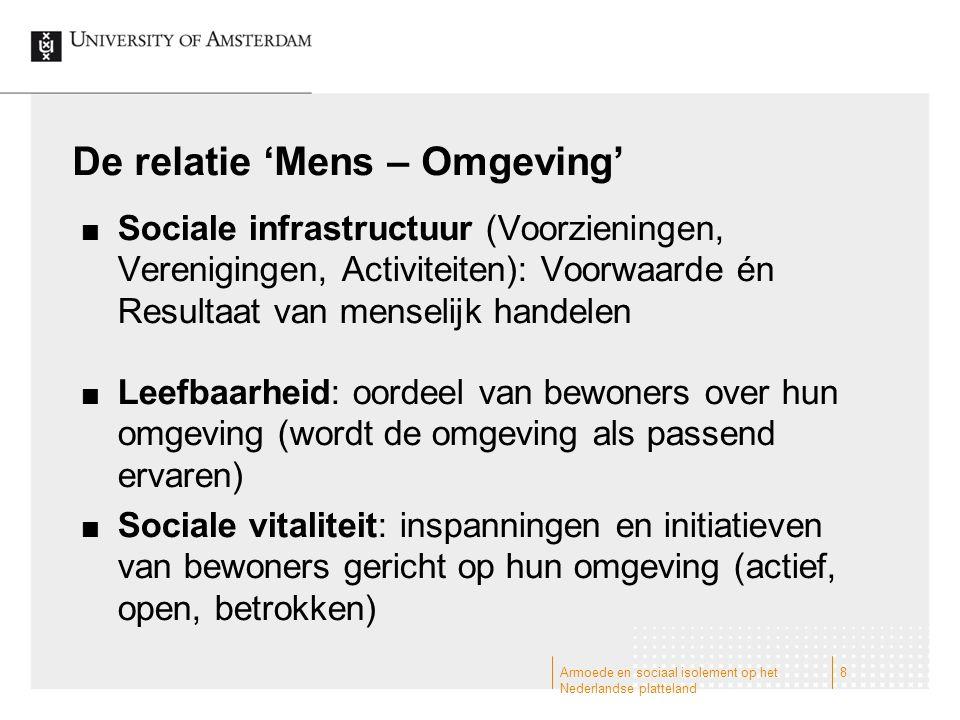 De relatie 'Mens – Omgeving' Sociale infrastructuur (Voorzieningen, Verenigingen, Activiteiten): Voorwaarde én Resultaat van menselijk handelen Leefba