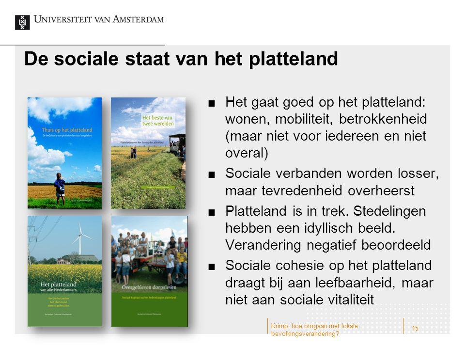 De sociale staat van het platteland Het gaat goed op het platteland: wonen, mobiliteit, betrokkenheid (maar niet voor iedereen en niet overal) Sociale verbanden worden losser, maar tevredenheid overheerst Platteland is in trek.