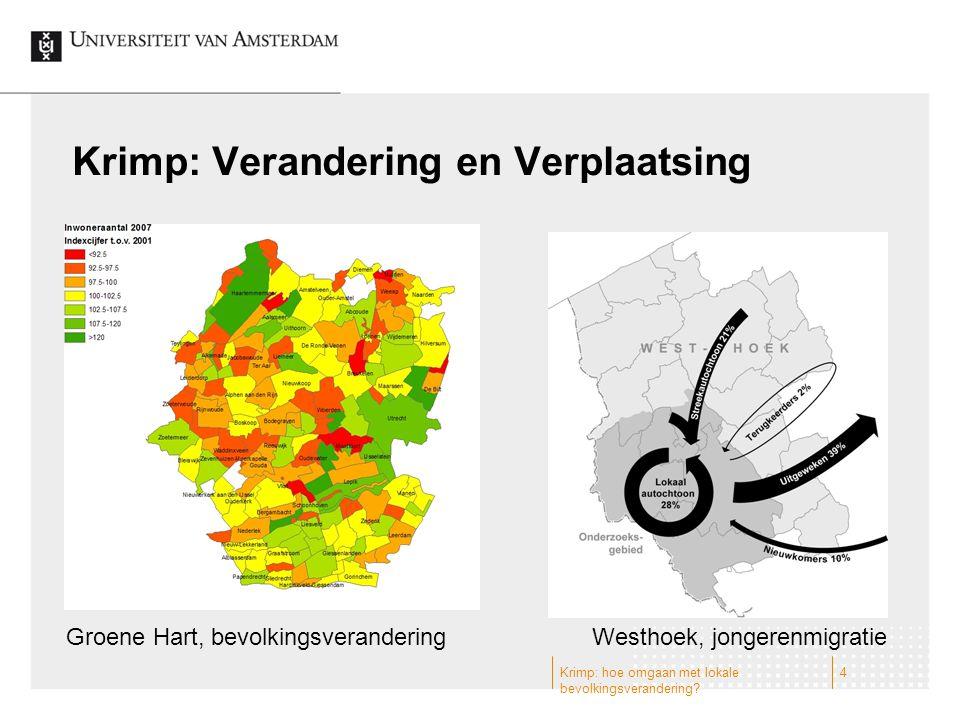Krimp: Verandering en Verplaatsing Groene Hart, bevolkingsveranderingWesthoek, jongerenmigratie 4Krimp: hoe omgaan met lokale bevolkingsverandering?
