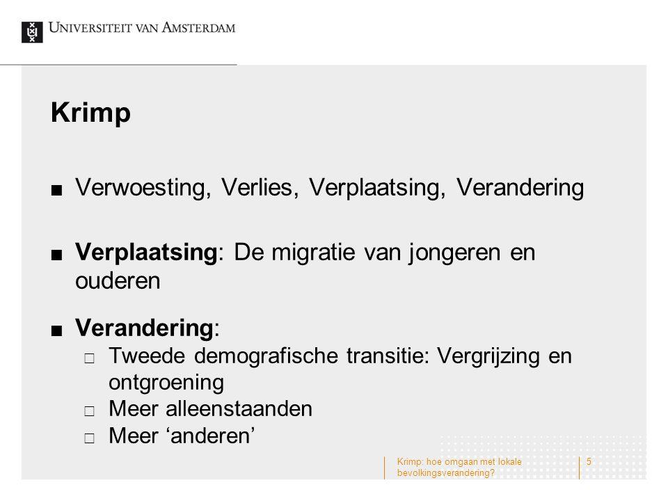 Bevolkingsdaling in Drenthe: vooral op het platteland en met grote lokale verschillen Krimp: hoe omgaan met lokale bevolkingsverandering.