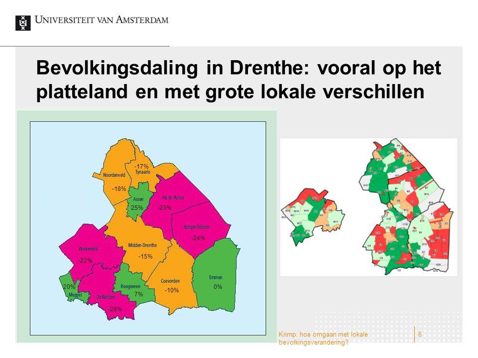 Bevolkingsdaling in Drenthe: vooral op het platteland en met grote lokale verschillen Krimp: hoe omgaan met lokale bevolkingsverandering? 6 0% -10% -1