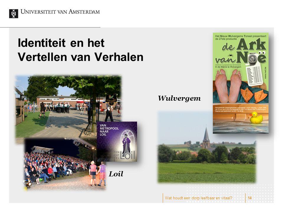 Identiteit en het Vertellen van Verhalen Wulvergem Loil 14 Wat houdt een dorp leefbaar en vitaal?