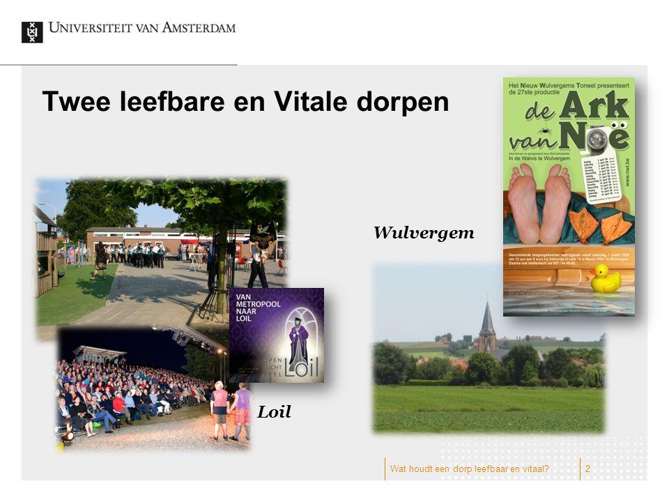 Twee leefbare en Vitale dorpen Wulvergem Loil 2Wat houdt een dorp leefbaar en vitaal?