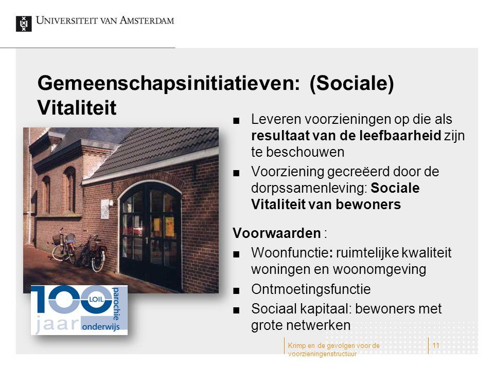 Gemeenschapsinitiatieven: (Sociale) Vitaliteit Leveren voorzieningen op die als resultaat van de leefbaarheid zijn te beschouwen Voorziening gecreëerd