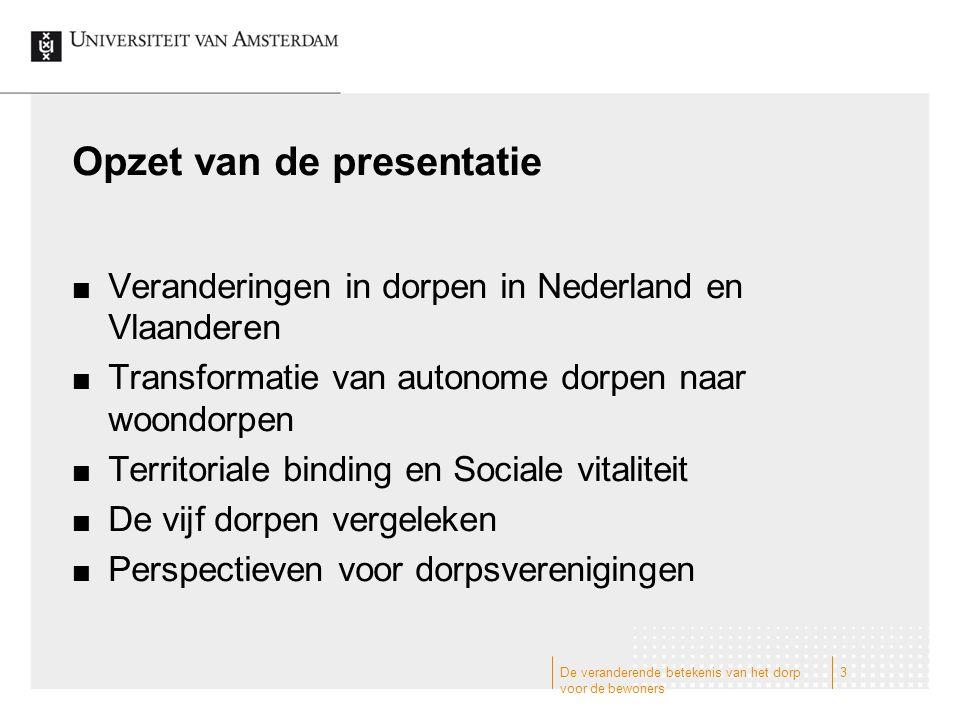 Opzet van de presentatie Veranderingen in dorpen in Nederland en Vlaanderen Transformatie van autonome dorpen naar woondorpen Territoriale binding en