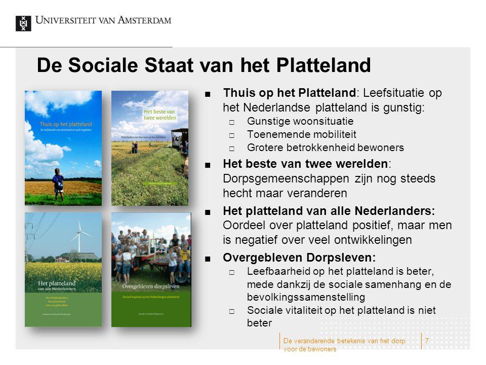 De Sociale Staat van het Platteland Thuis op het Platteland: Leefsituatie op het Nederlandse platteland is gunstig:  Gunstige woonsituatie  Toenemen